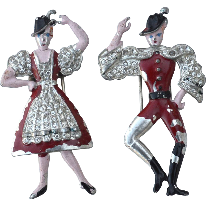 "Early Vintage ""Peter and Helen"" Enameled Fur Clips, Swiss Dancing Couple"