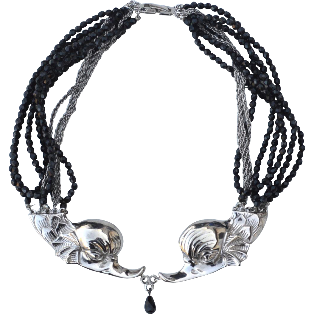 Signed CASTLECLIFF Double Gryphon Head Necklace, 10 Strand Black Glass Beads and Chains