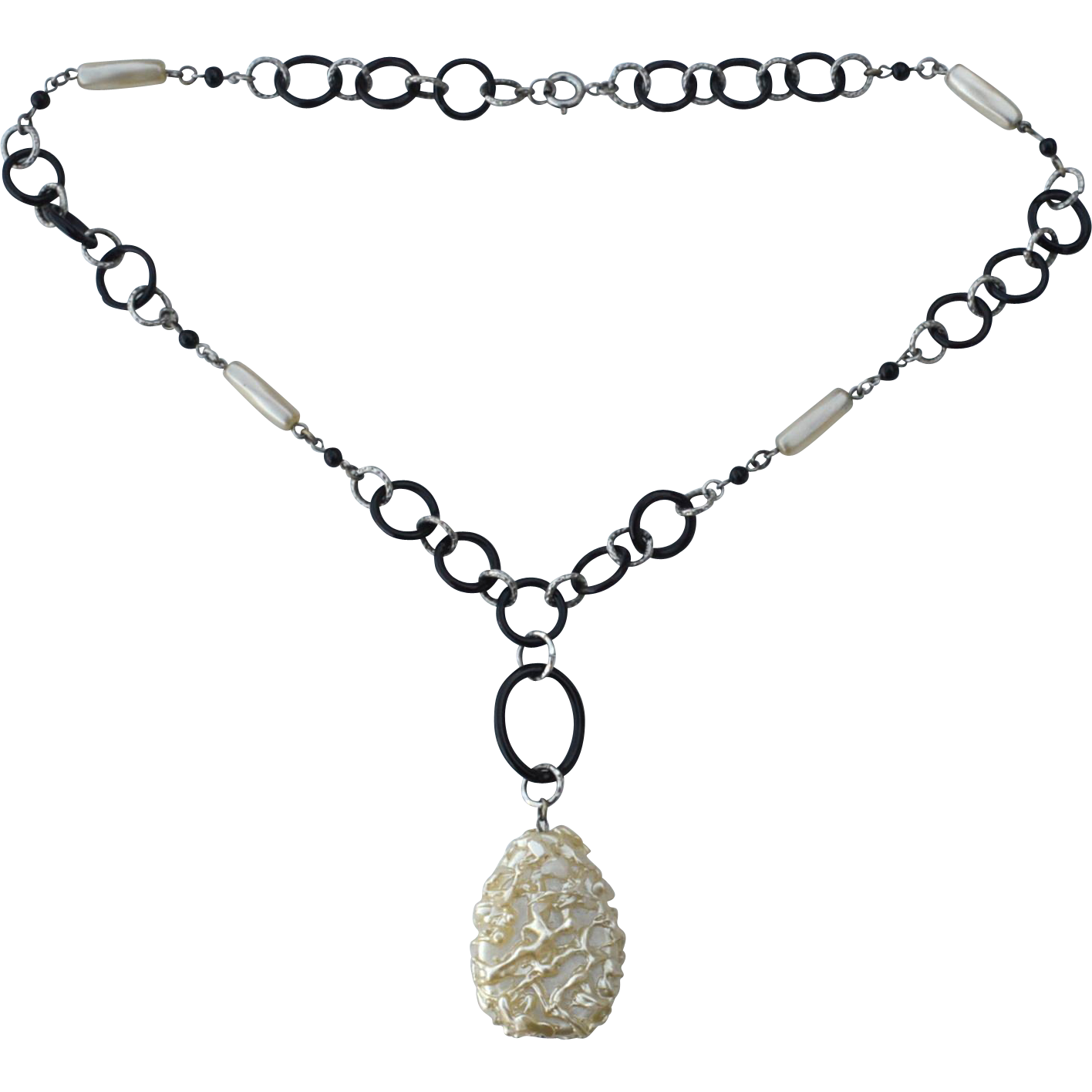 Art Deco Era Glass Circle and Faux Pearl Necklace, Interesting Center Drop