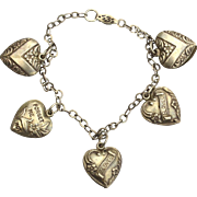 Early Hallmarked STERLING SILVER Puffy Heart Charm Bracelet, Forget Me Not, I Love You