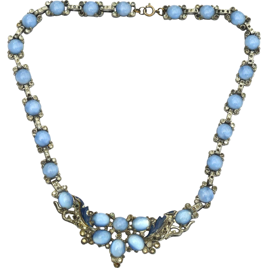 Early Vintage Blue Glass Moonstone and Enamel Necklace, 1930's