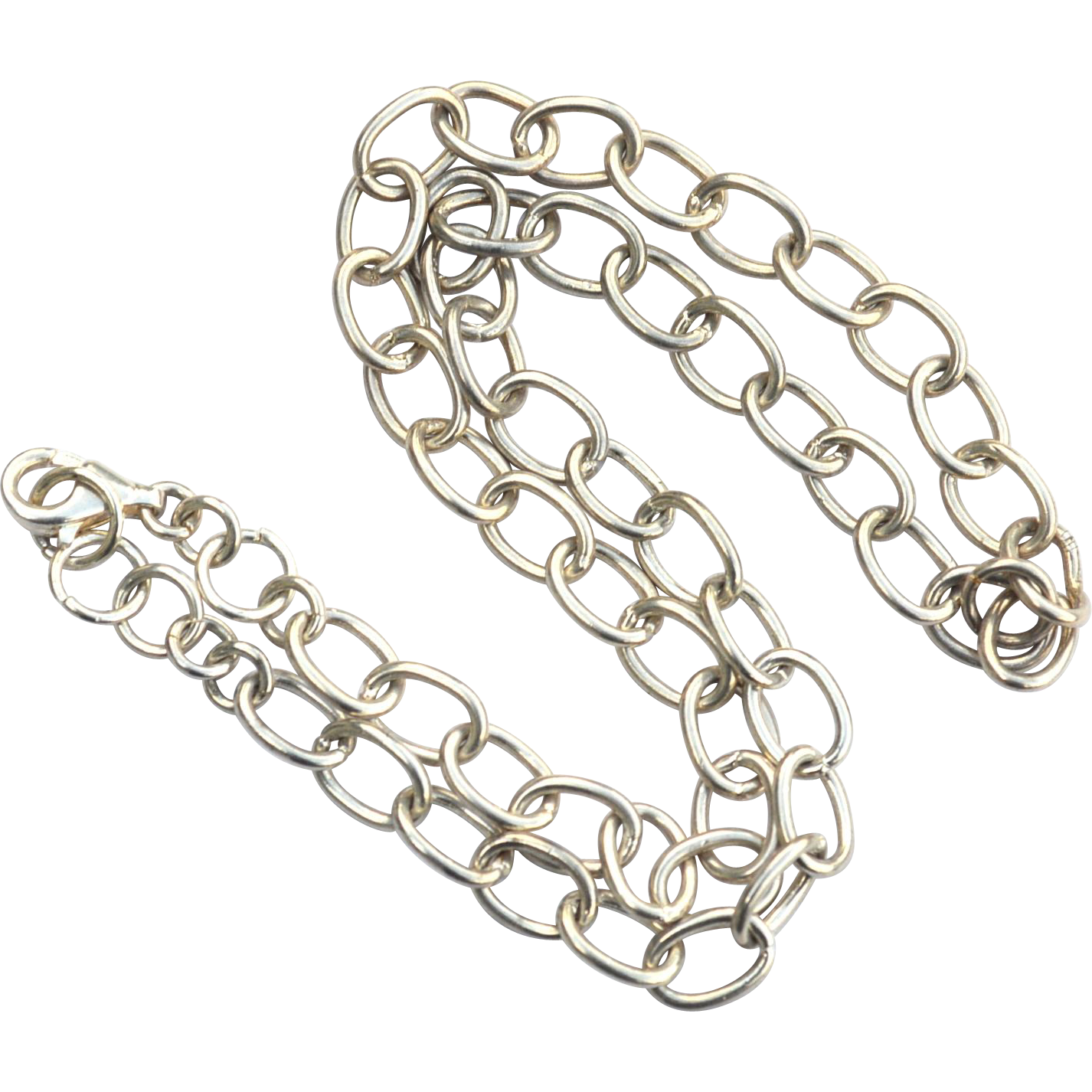 Large Oval Link Hallmarked STERLING SILVER Necklace