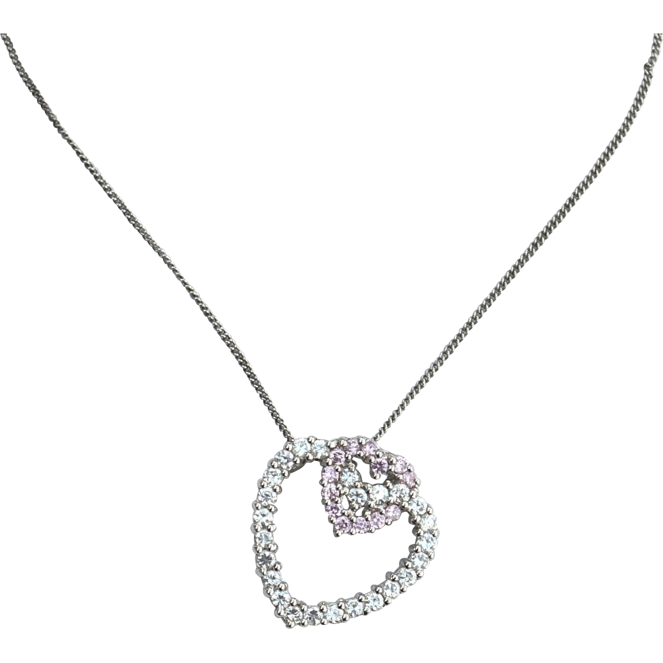 Hallmarked STERLING SILVER Double Heart Pendant Necklace, Clear and Pink Cz
