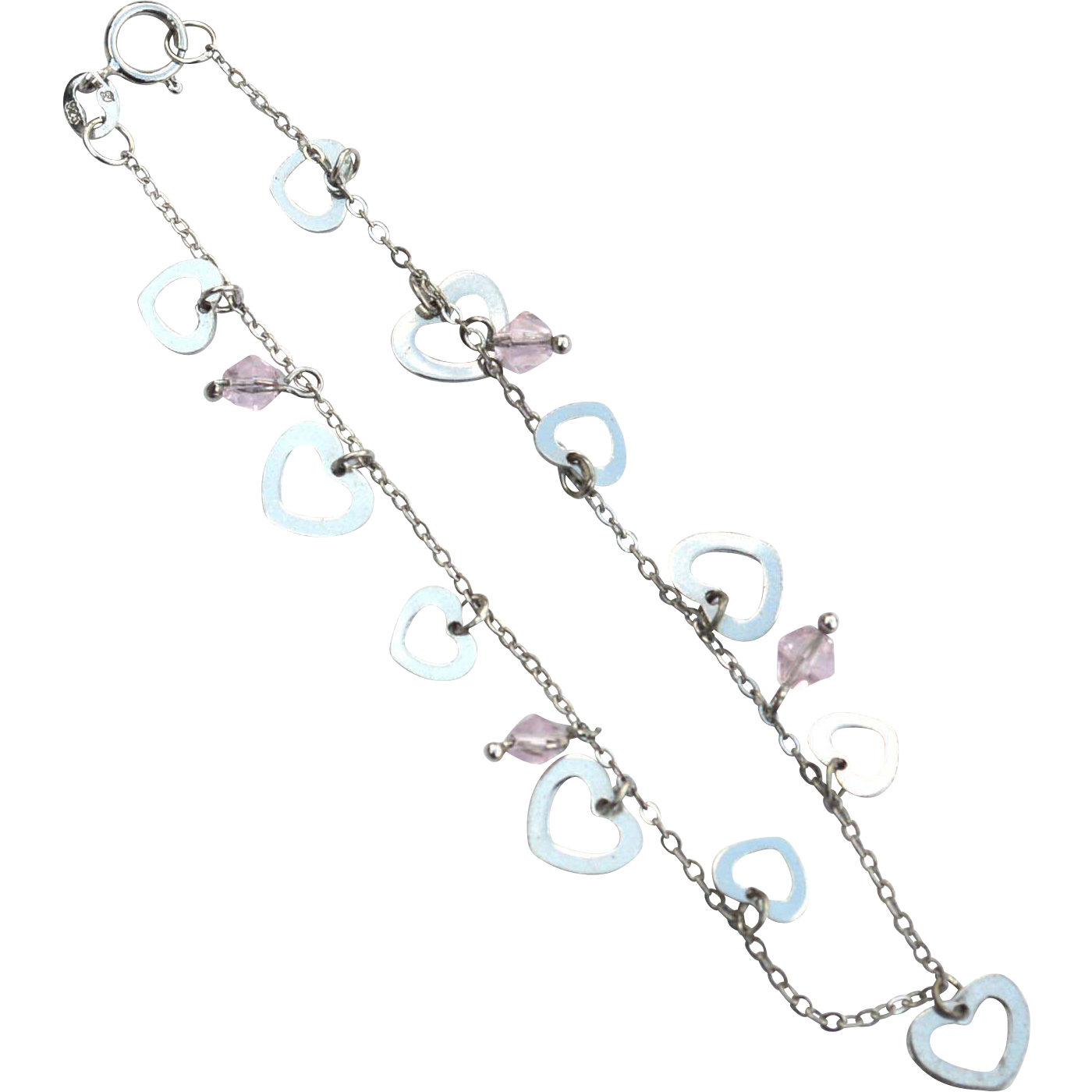 Vintage Hallmarked STERLING SILVER Dangling Heart and Pink Crystal Charm Bracelet