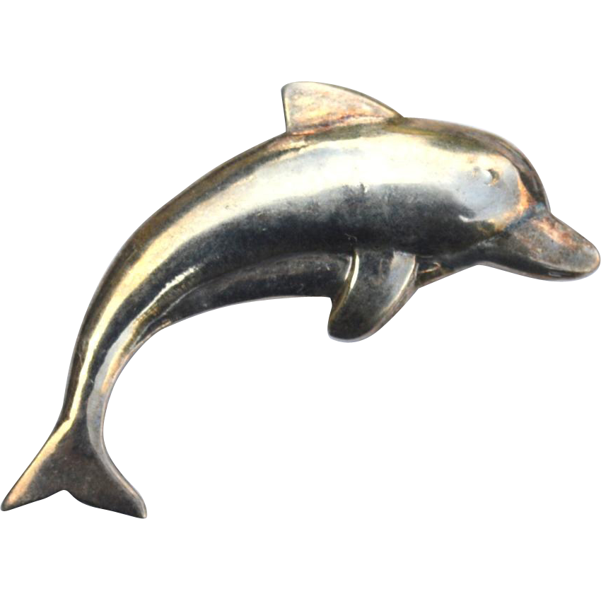 Vintage Hallmarked STERLING SILVER Dolphin Pin