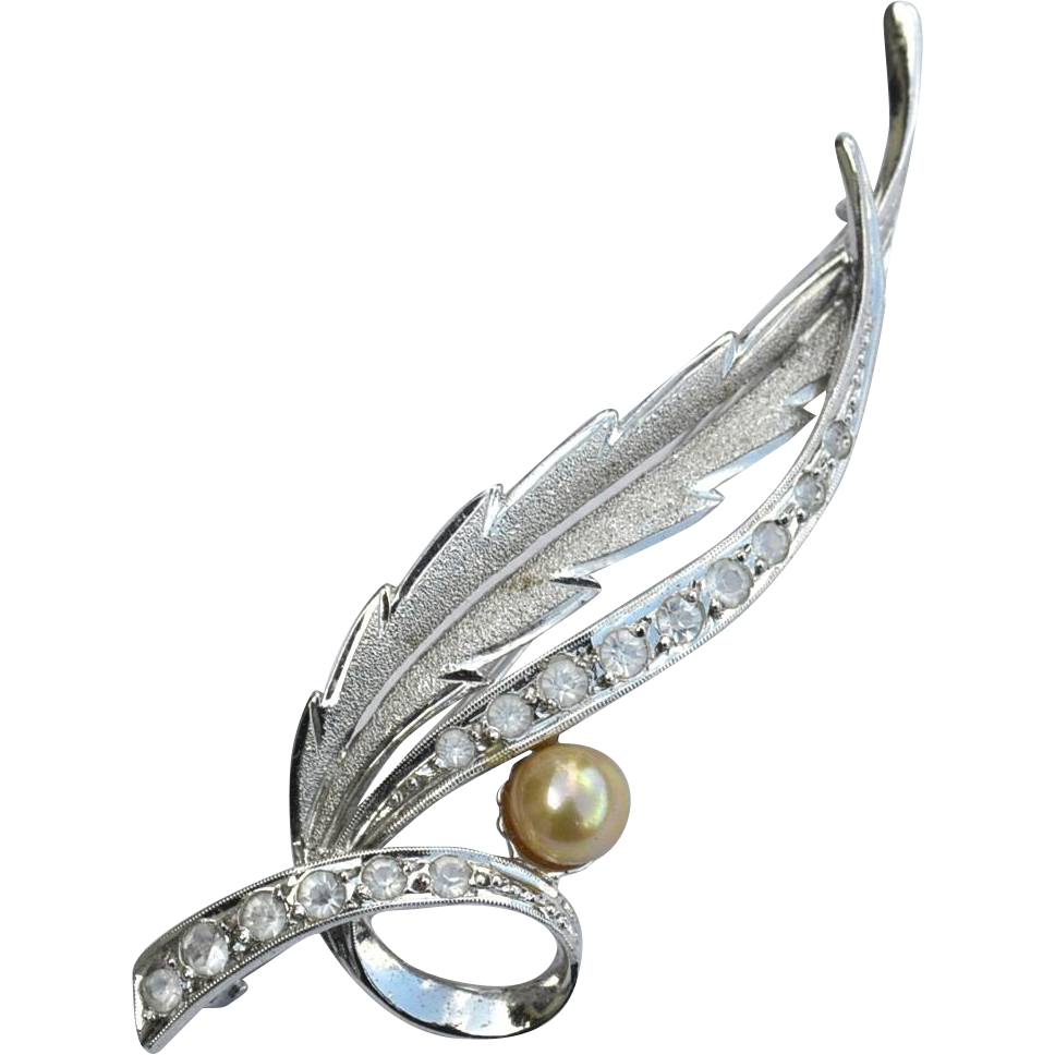 Hallmarked STERLING SILVER Spray Pin, Cultured Pearl and CZ's, Trombone Clasp