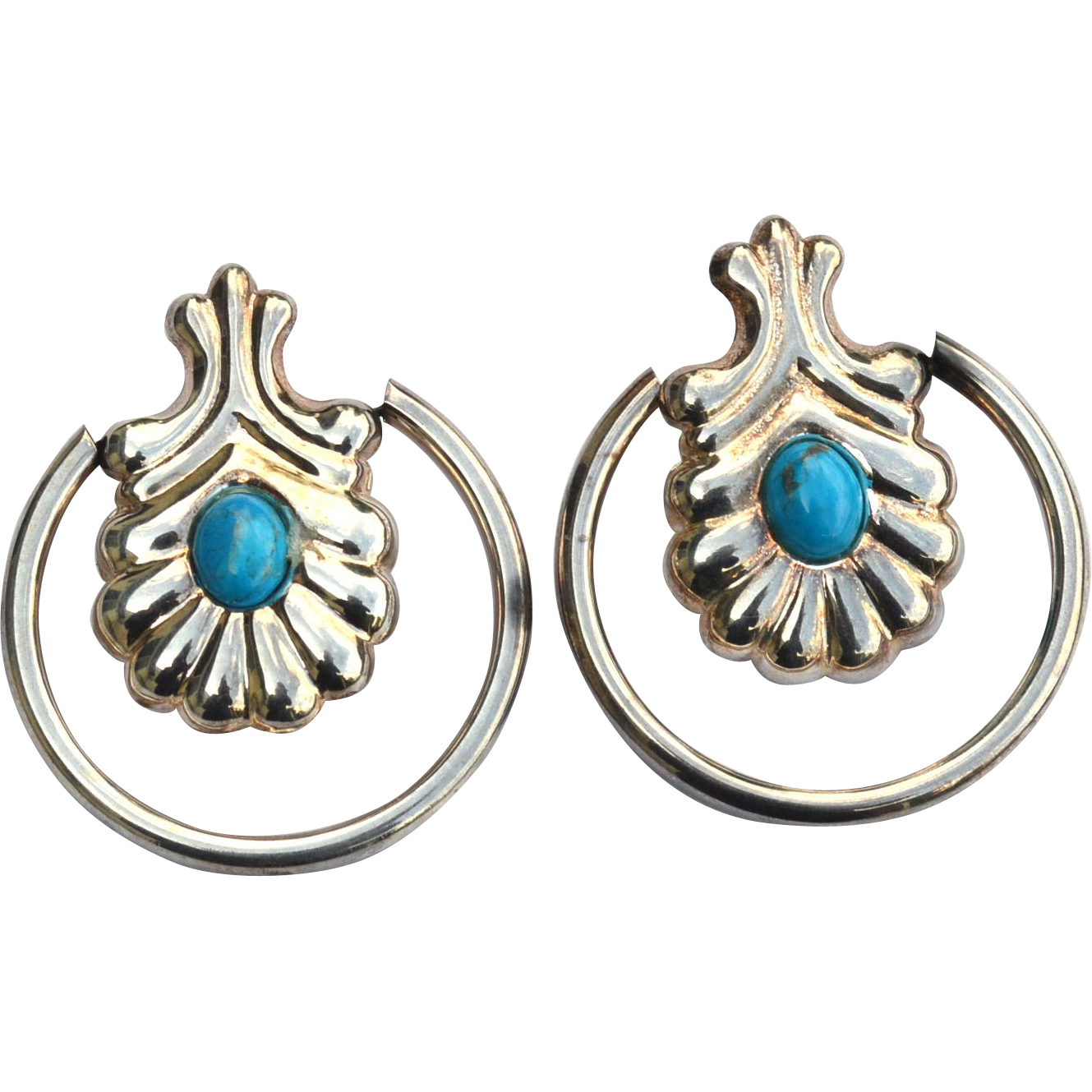 Huge Oversized Hallmarked STERLING SILVER and Turquoise Earrings