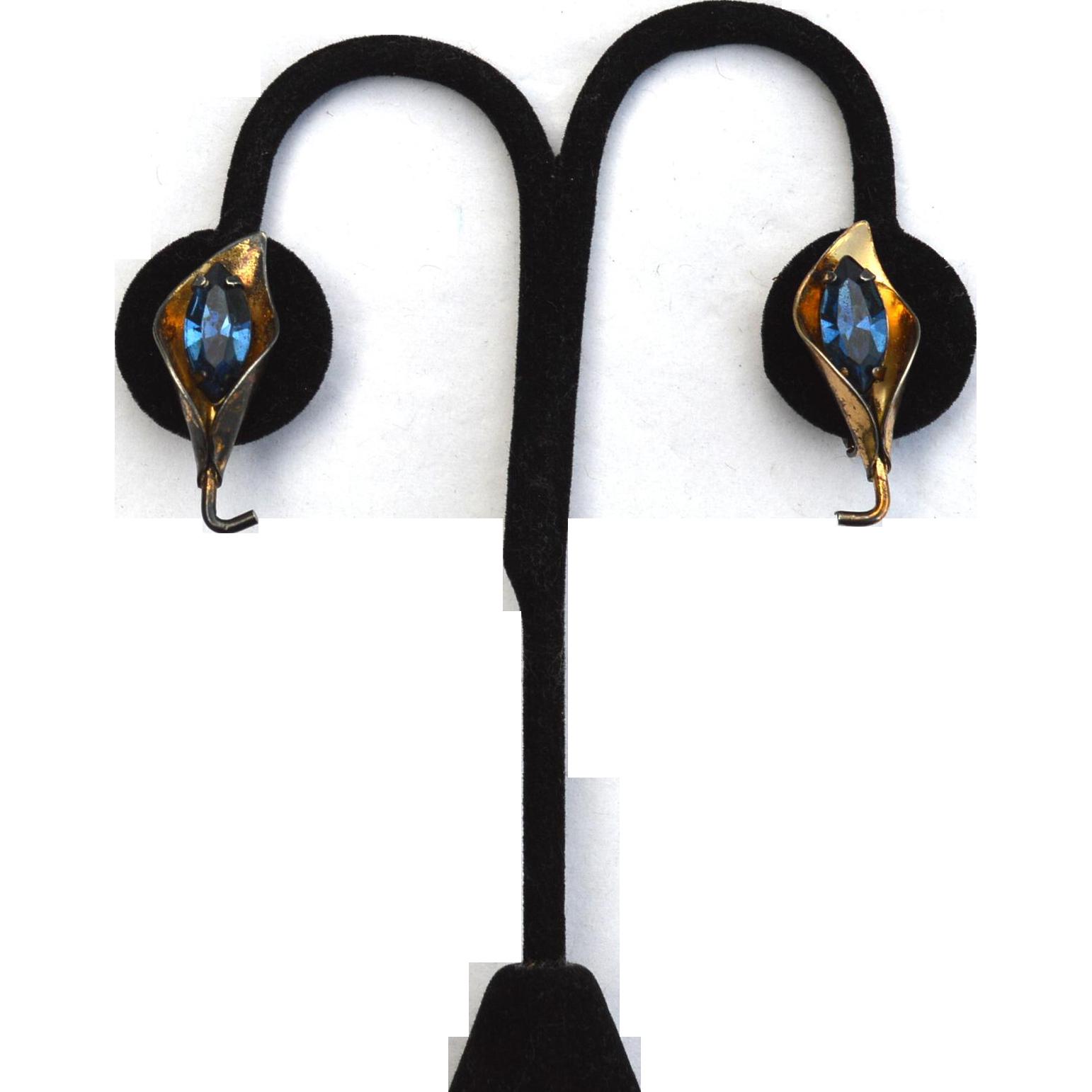 Early Hallmarked CORO Pegasus Sterling Silver Vermeil Earrings, Blue Stone