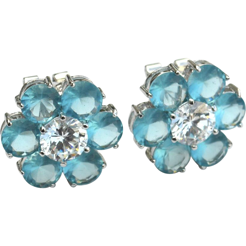 Hallmarked Sterling Silver Ice Blue and Clear Flower Earrings