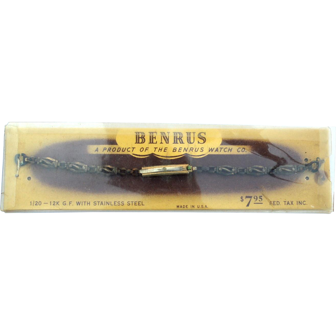 Early 12K Gold Filled BENRUS Watch Band, Original Packaging