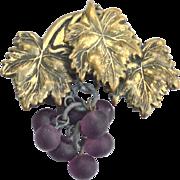 Early Dangling Purple Glass Grapes Pin, Victorian Era