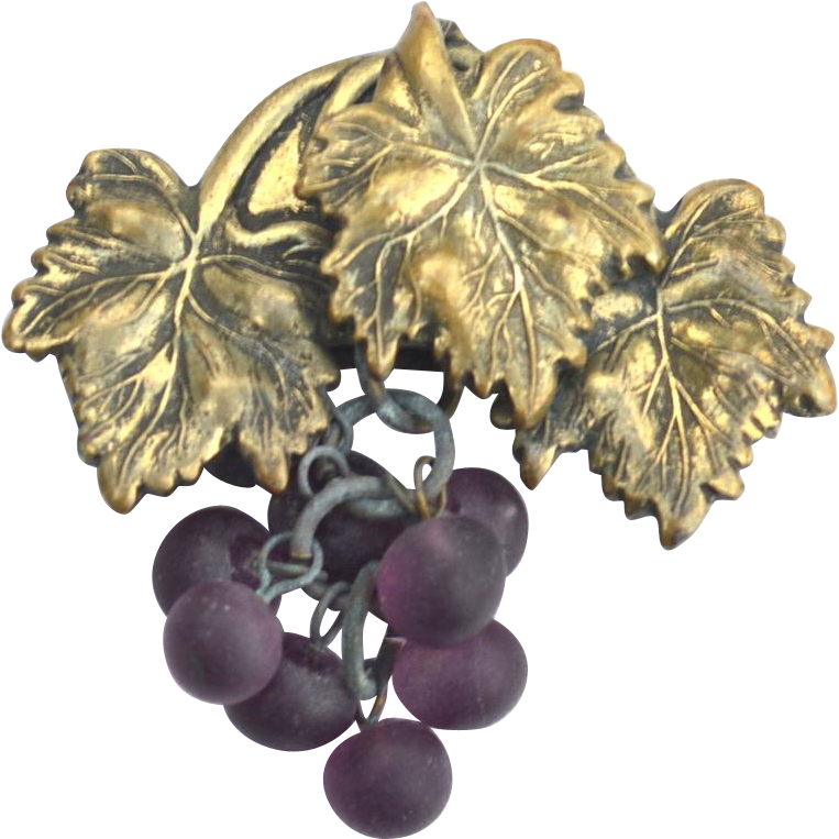 Early Dangling Purple Glass Grapes Pin, Victorian Era