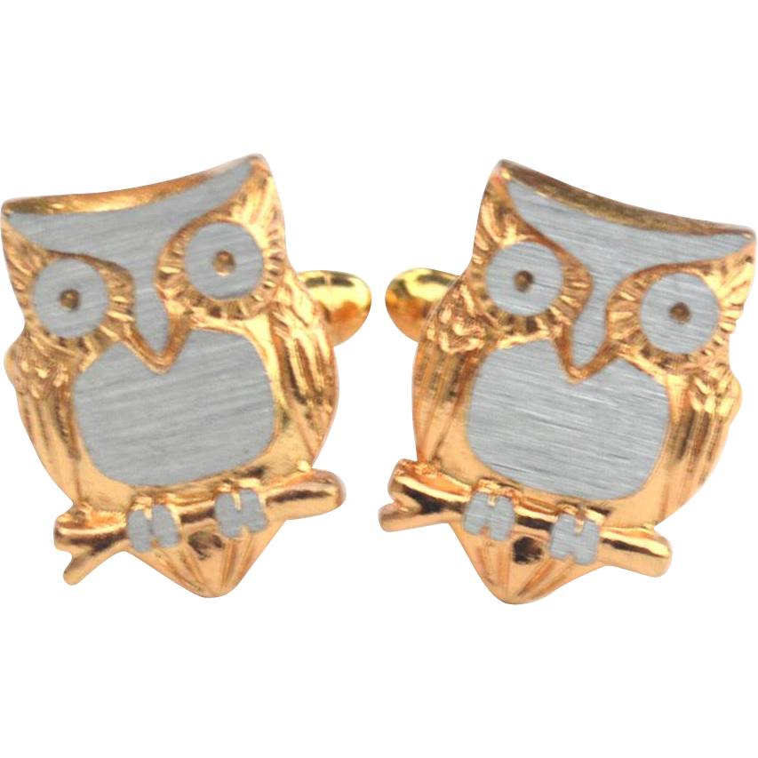 Vintage Gold and Silver Tone OWL Cufflinks Cuff Links