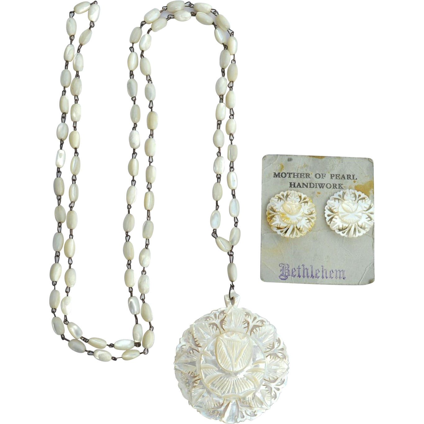 Vintage Hand Carved Mother Of Pearl Earrings and Necklace, Bethlehem, Original Card