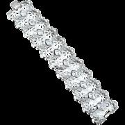 Super Wide Signed CORO Pegasus Silver Toned Metal Bracelet
