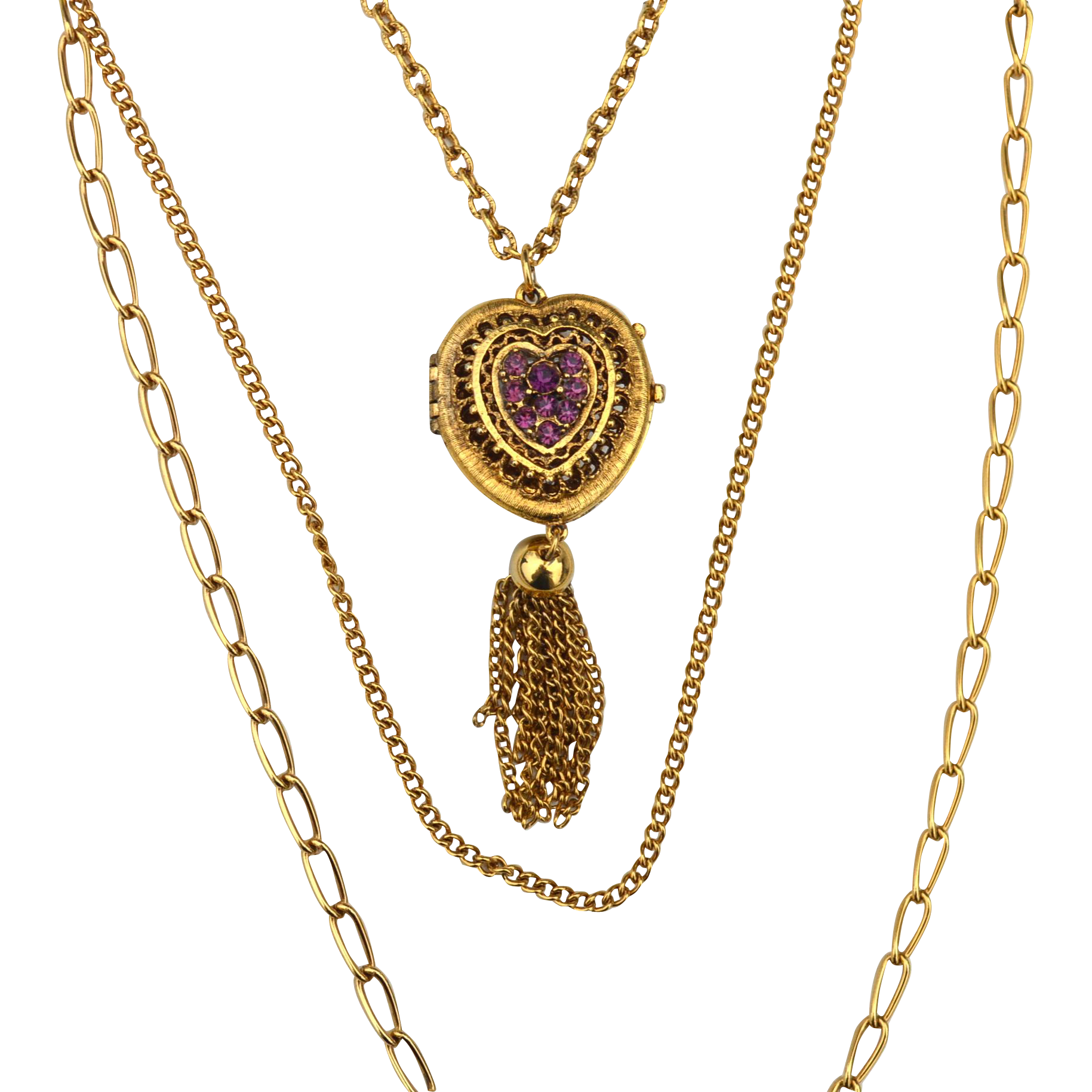 Vintage Triple Strand Necklace with Heart Locket, Purple Rhinestone