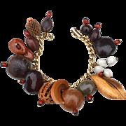 Vintage Super Fun Dangling Charm Bracelet, All NUTS!