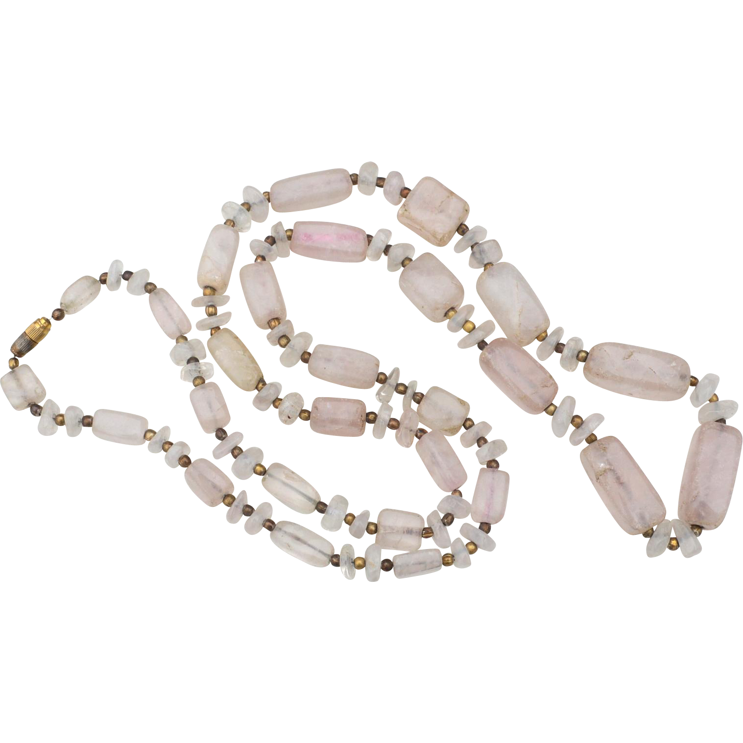 Vintage Rose Quartz Long Necklace, Barrel Clasp