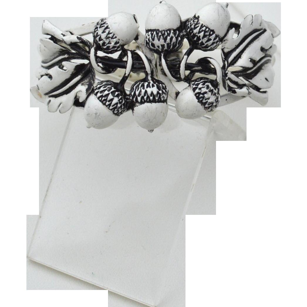 Vintage White Enameled Acorn Clamper Bracelet, Black Accents