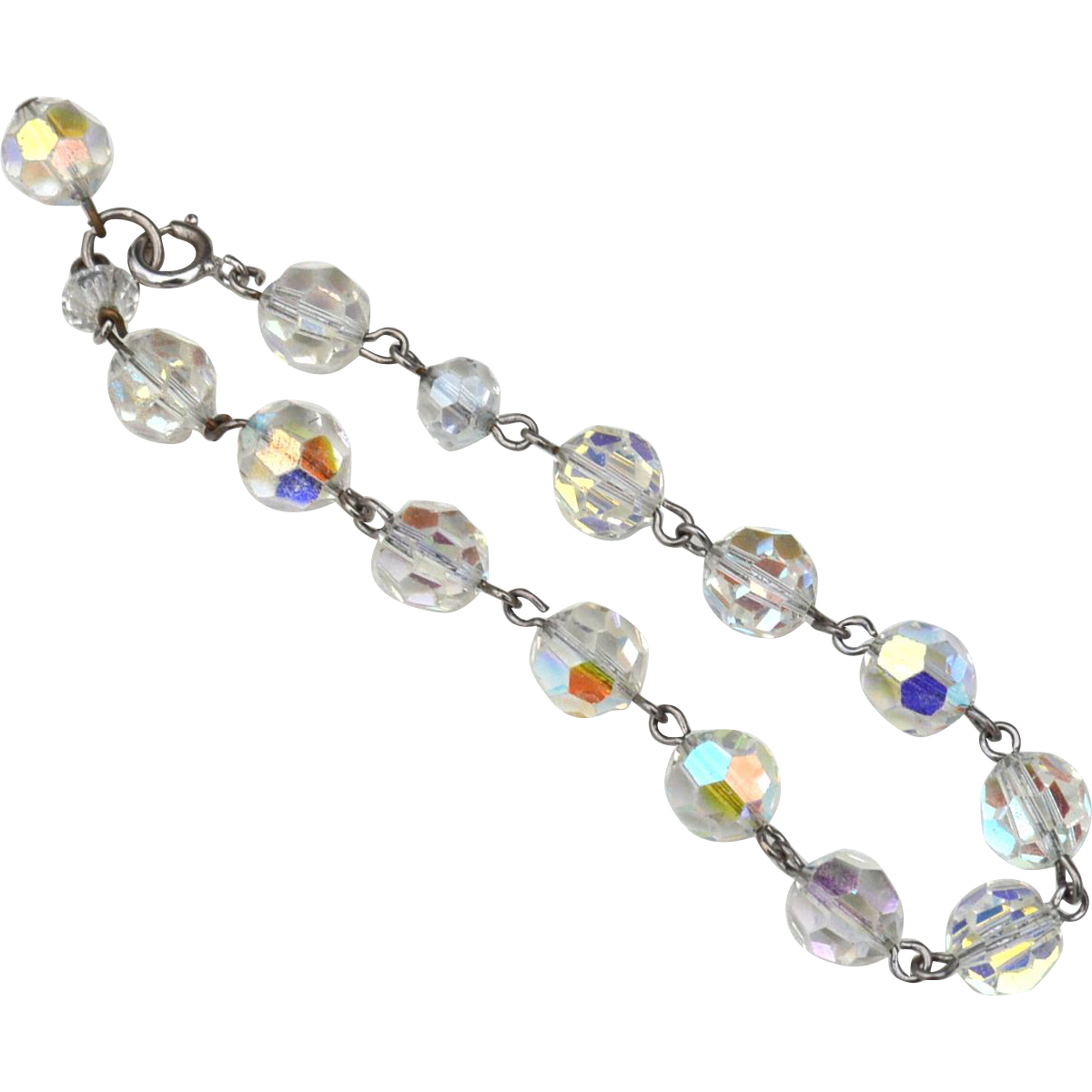 Beautiful Clear Crystal Hallmarked STERLING SILVER Bracelet