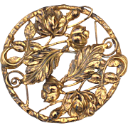 Art Nouveau Era Gold Toned Romantic Pin, Flowers and Leaves