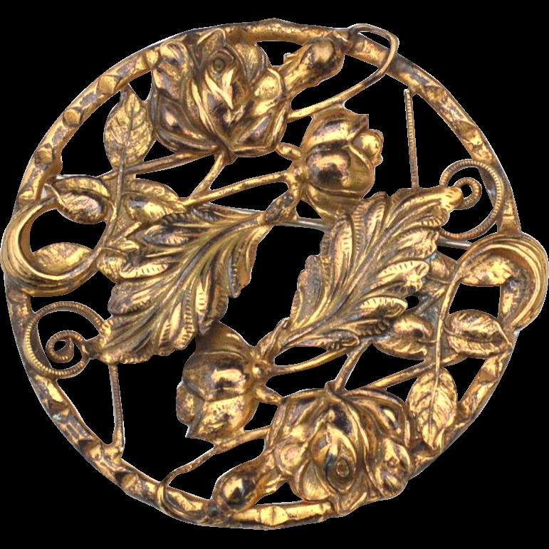 Art Nouveau Era Gold Toned Romantic Pin, Flowers and Leaves