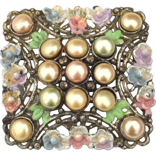 Early Vintage Faux Button Pearl and Enamel Flower Pin