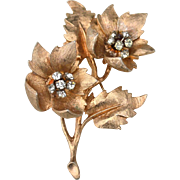Vintage Signed HAR Gold Tone Dimensional Flower Pin With Rhinestones