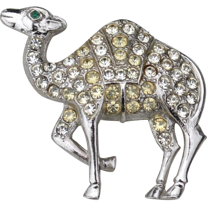 Vintage Signed ORA Camel Pin, Clear Rhinestones