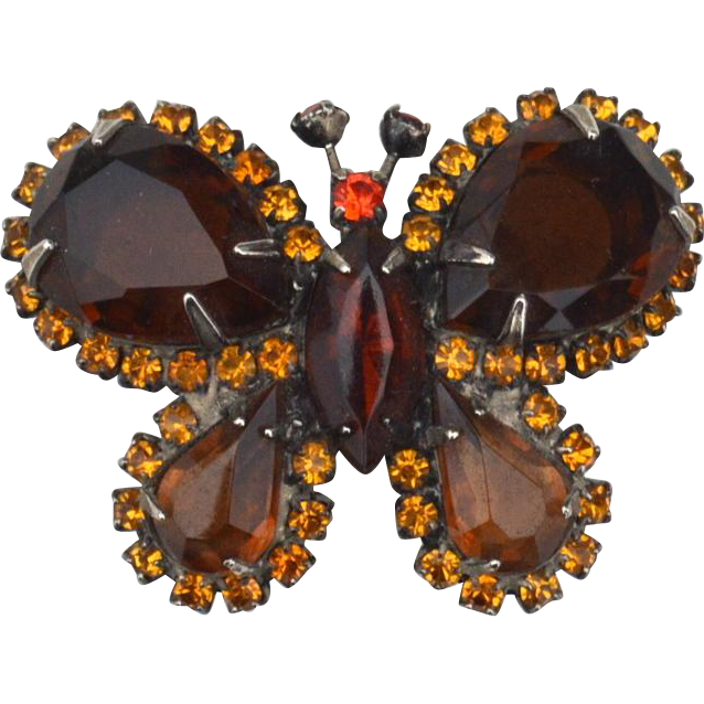 Vintage Rootbeer Colored Rhinestone Butterfly Pin, Orange Accents
