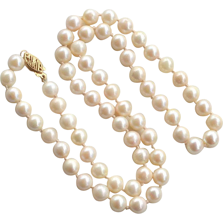 Vintage Hallmarked 14K  Gold Hand Knotted Pearl Necklace