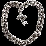 Vintage Hallmarked STERLING SILVER Double Link Charm Bracelet, Dancing Ballerina Charm