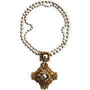 Vintage Signed MIRIAM HASKELL Double Strand Baroque Pearl Necklace With Seed Pearls, Rose Montee Rhinestones