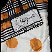Vintage ELSA SCHIAPARELLI 100% Silk Scarf, Gold Black and White