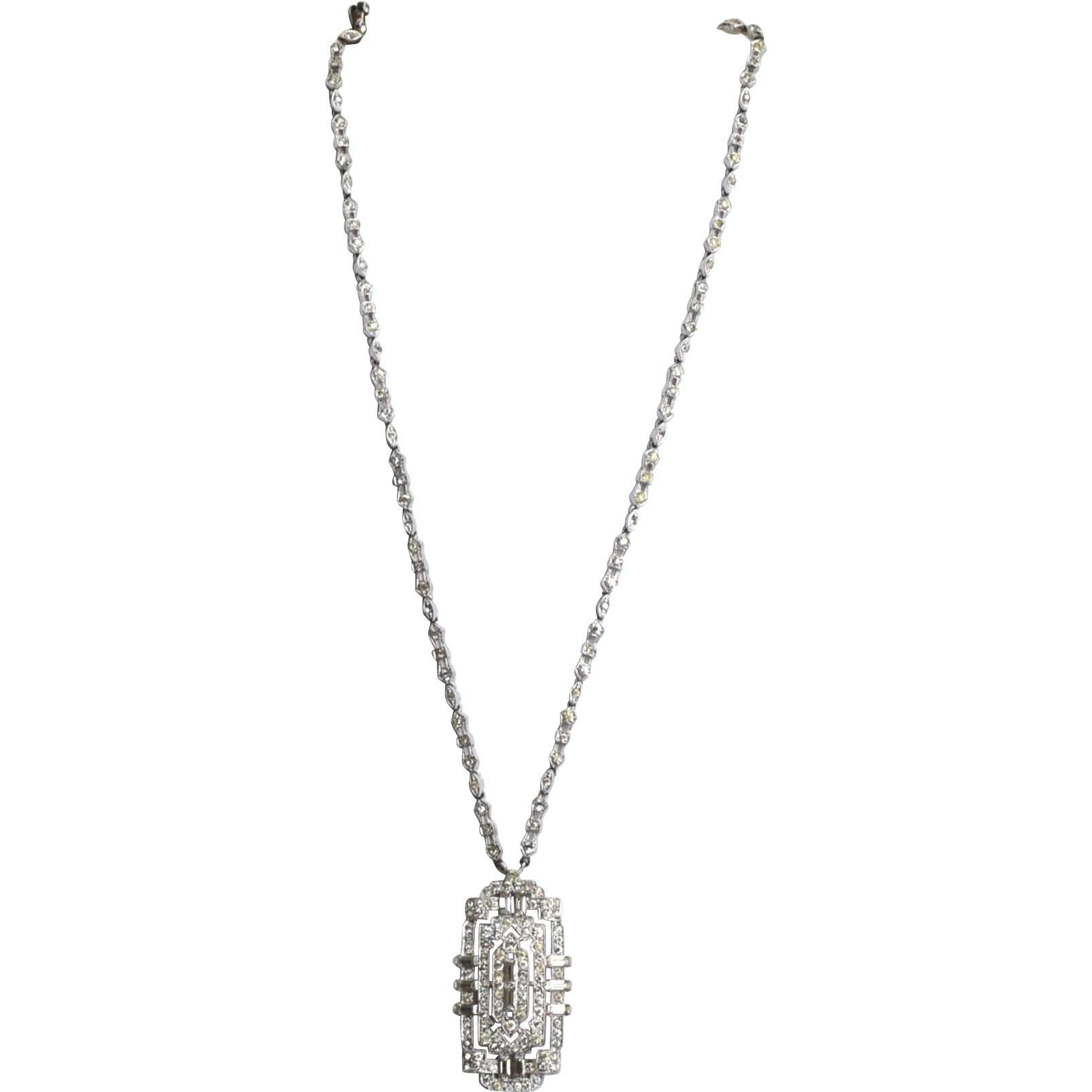 1930's KTF Trifari Krussman Fishel Art Deco Style Rhinestone Necklace, Very Rare Piece!