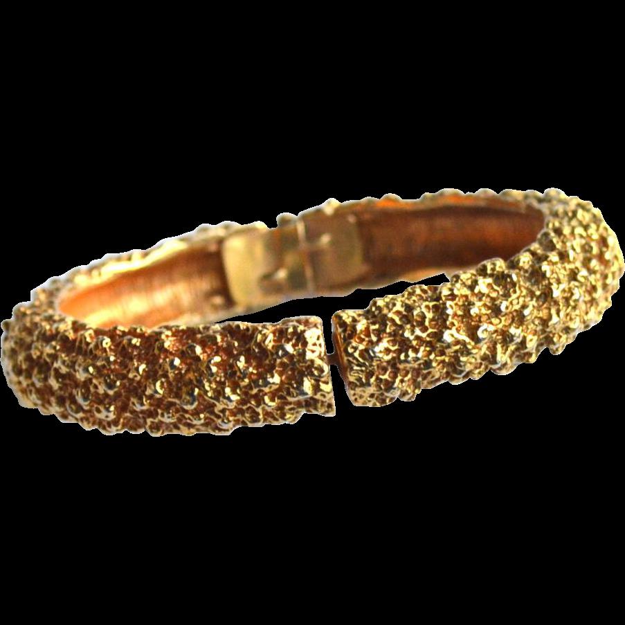 Vintage Signed CADORO Gold Toned Textured Bracelet