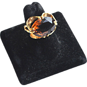 Vintage Hallmarked 10K Gold Filled Topaz Ring