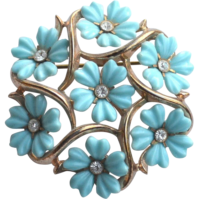 Vintage Signed Crown TRIFARI Molded Turquoise Blue Flower Pin