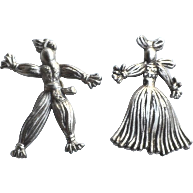 Vintage Silver Tone Man and Woman Rag Doll Pins