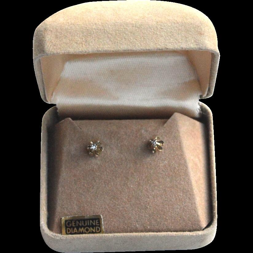 Vintage Hallmarked Sterling Silver and Genuine DIAMOND Earrings, Original Box