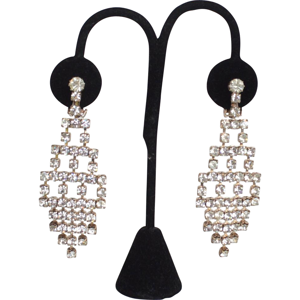 Vintage Sparkling Shoulder Duster Rhinestone Dangle Clip Earrings, Fringe Style