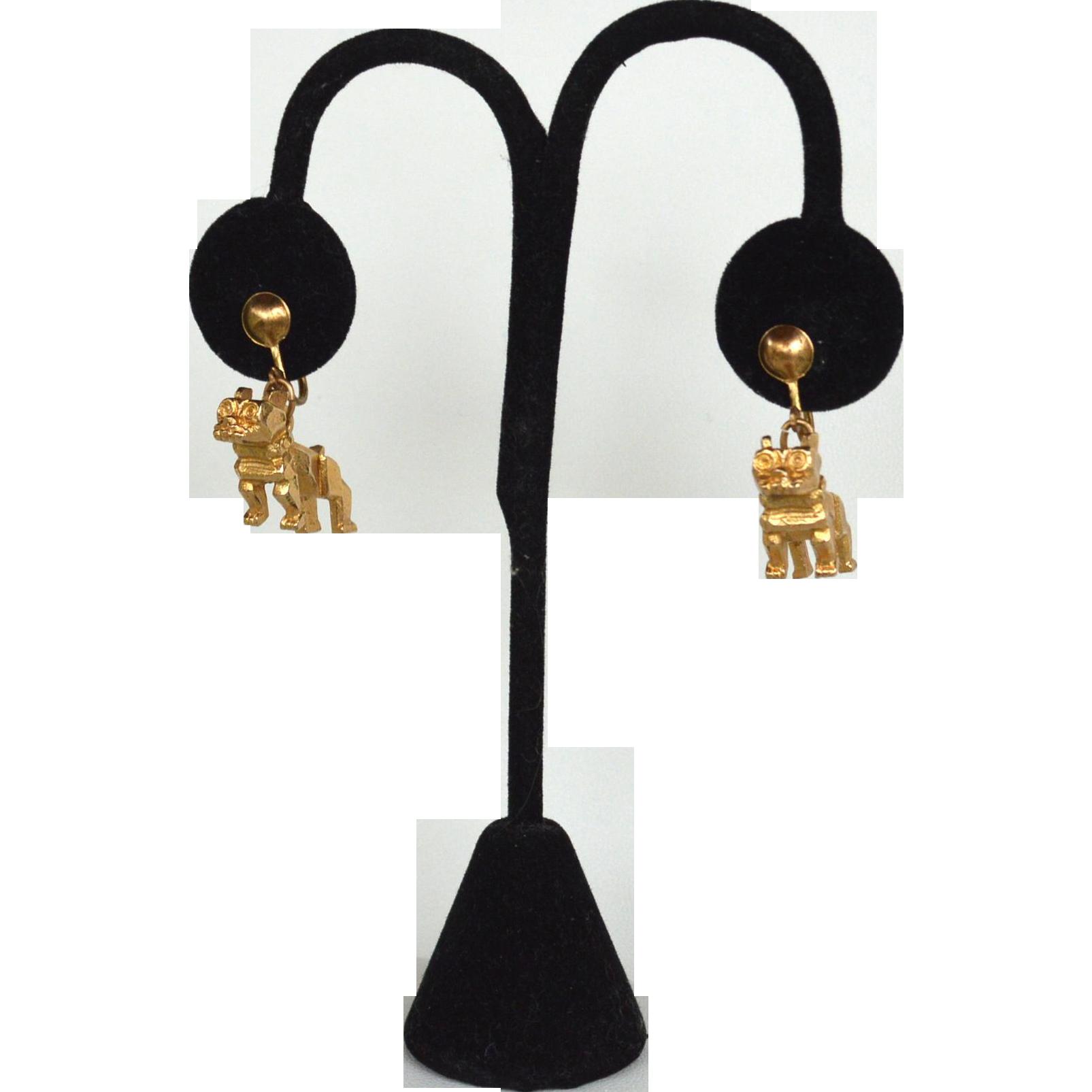 Vintage Gold Toned Modernist Blocky BULLDOG Screwback Earrings