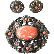 Early Vintage Faux Coral Stone Demi, Ornate Silver Tone Metal Pin and Earrings