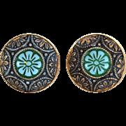 Vintage Hallmarked DESTINO 12K GF Moroccan Matrix Cuff Links Cufflinks