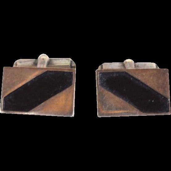 Vintage Hallmarked STERLING SILVER Mexico Inlaid Enamel Work Cufflinks Cuff Links