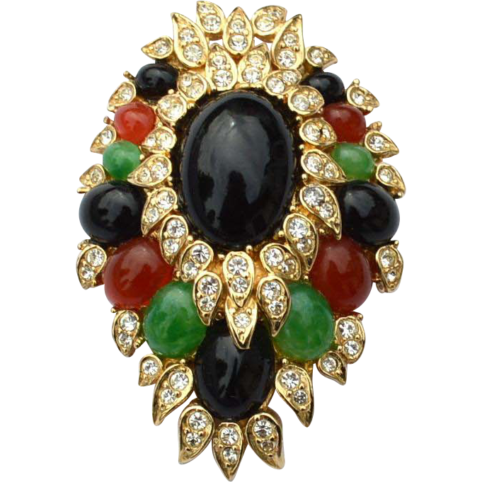 Vintage Signed CINER Jewels Of India Pin, Faux Glass Emerald, Onyx, Carnelian, Diamond Glass Stones