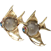 1944 Signed CORO DUETTE Jelly Belly Sterling Angel Fish Pin Fur Clip