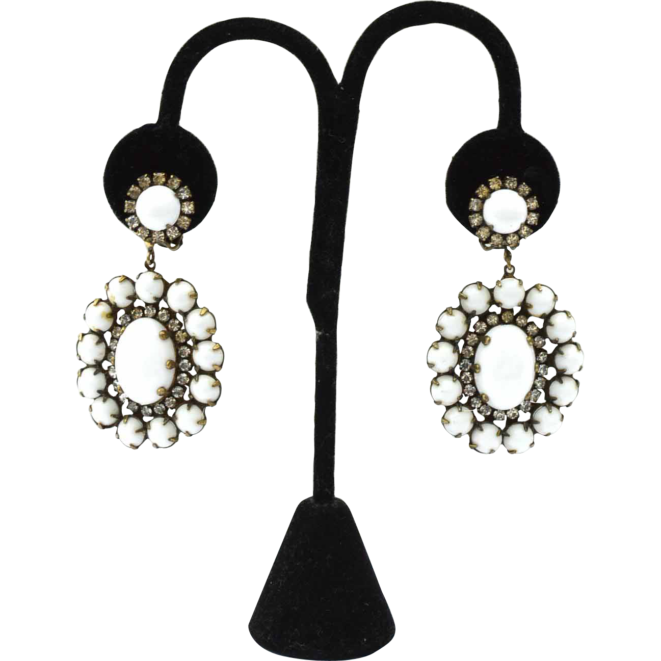 1960's Signed K.J.L. Kenneth Jay Lane White Glass and Rhinestone Drop Shoulder Duster Earrings