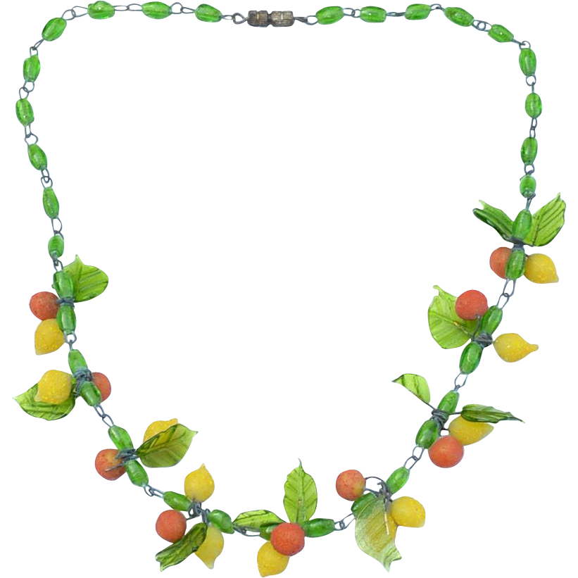 Early Vintage Venetian Italian Glass Necklace, Fruit and Leaves