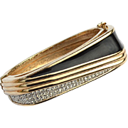 Vintage Signed PANETTA Clear Rhinestone and Black Enamel Bracelet